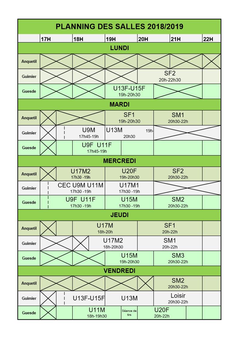 Planning des entrainements