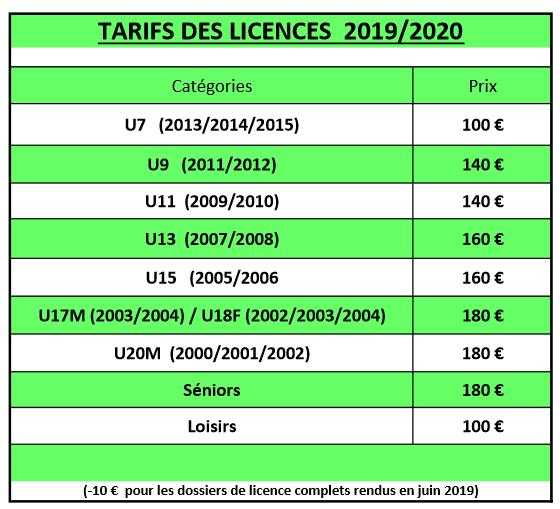 TARIFS 2019 2020