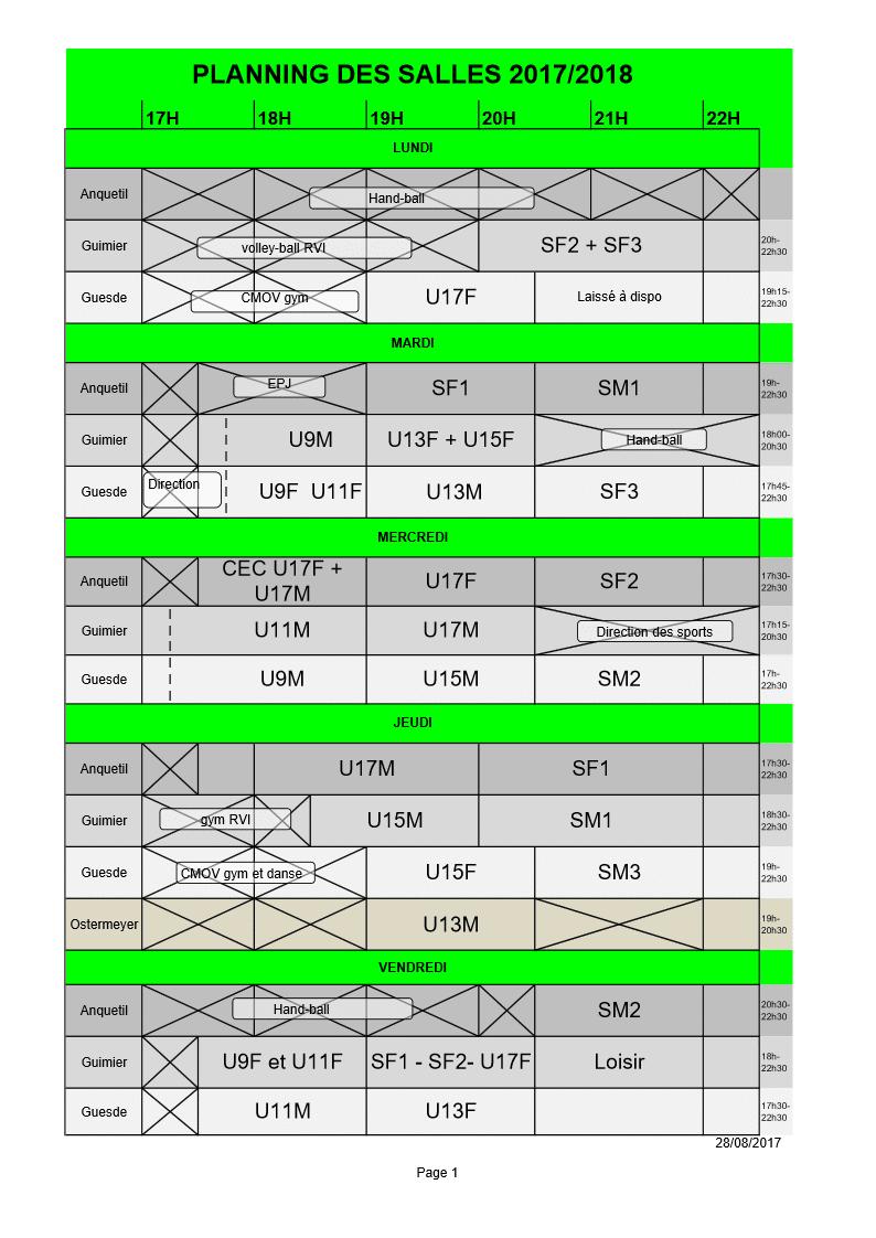 planning entrainements 2017 2018