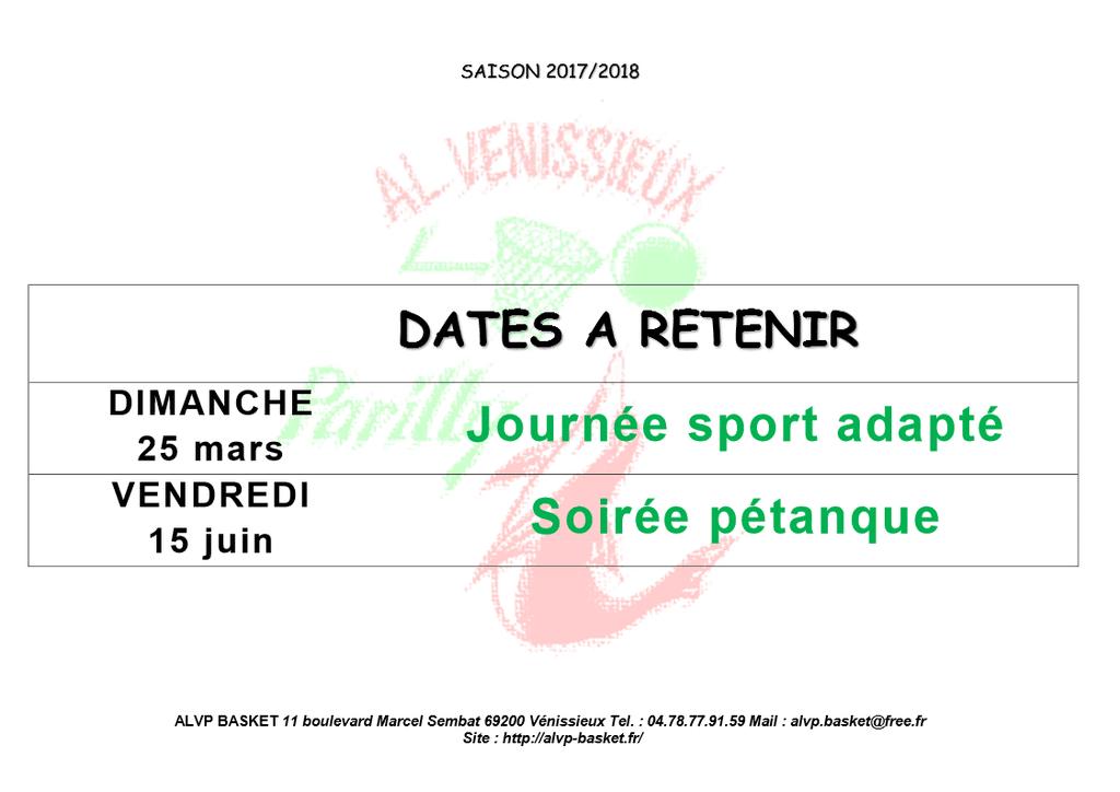 dates à retenir 2018