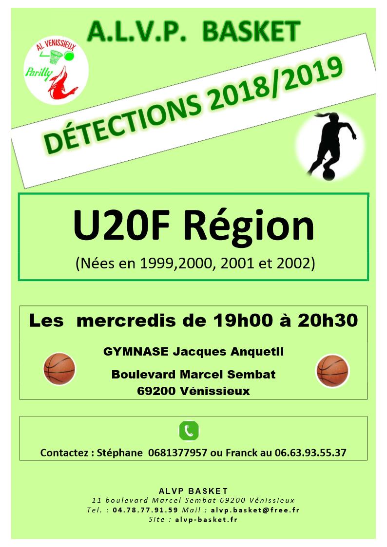 détections 2018 2019 U20F - Couleurs