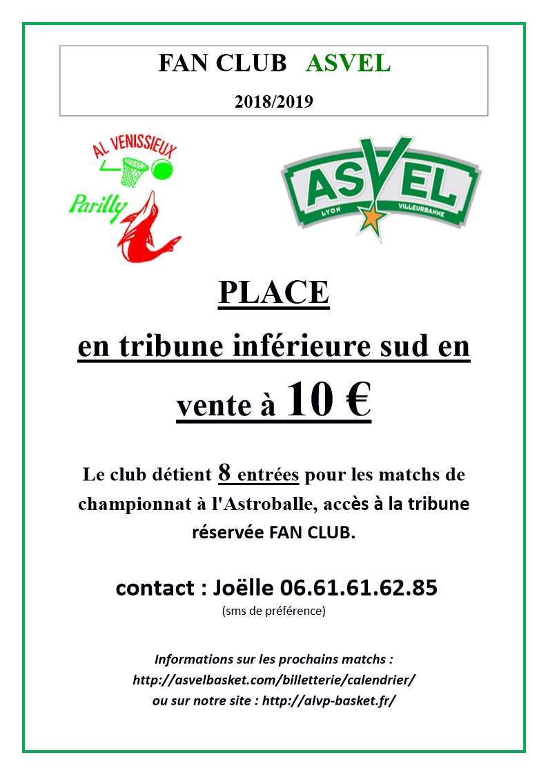 AFFICHE FAN CLUB ASVEL 2018 2019